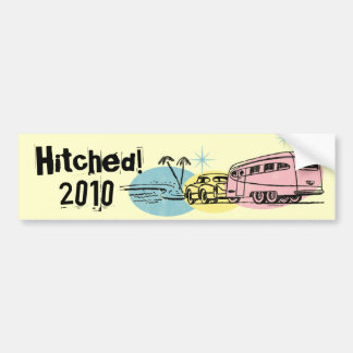 Retro Trailer Just Hitched Custom Bumper Sticker