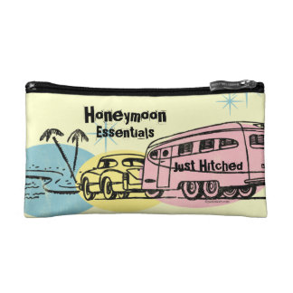 Retro Trailer Just Hitched Personalized Cosmetic Bags