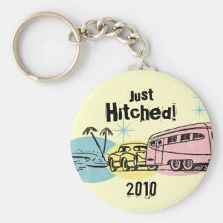 Retro Trailer Just Hitched Personalized Keychain