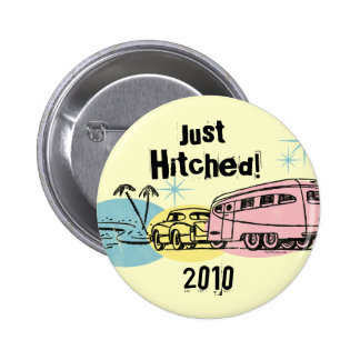 Retro Trailer Just Hitched Personalized Magnet Pinback Button
