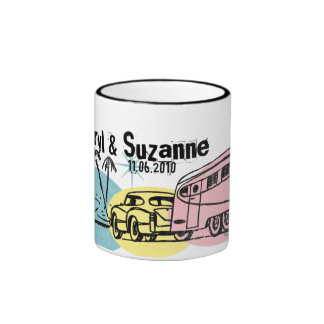 Retro Trailer Just Hitched Personalized Mug