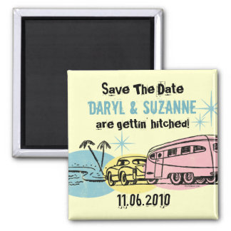 Retro Trailer Just Hitched Save The Date 2 Inch Square Magnet