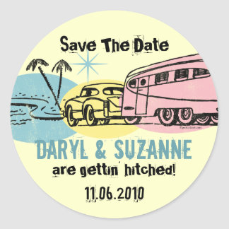 Retro Trailer Just Hitched Save The Date Classic Round Sticker