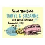 Retro Trailer Just Hitched Save The Date Post Card
