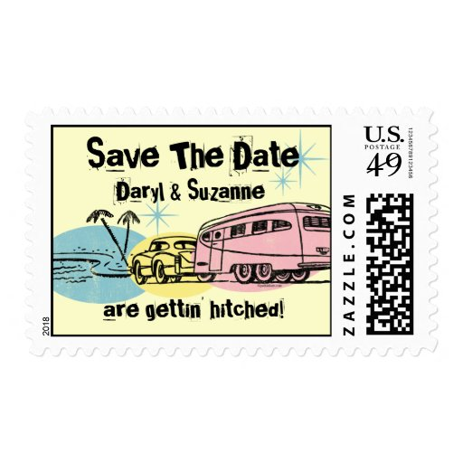 Retro Trailer Just Hitched Save The Date Postage Stamp
