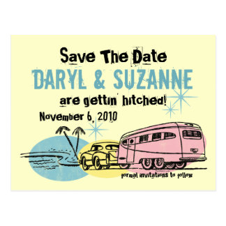 Retro Trailer Just Hitched Save The Date Postcard