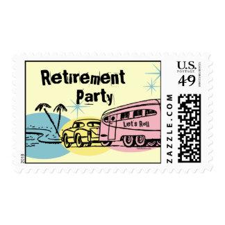 Retro Trailer Retired Custom Postage