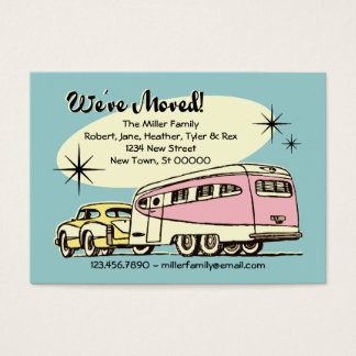 Retro Trailer We've Moved Business Card