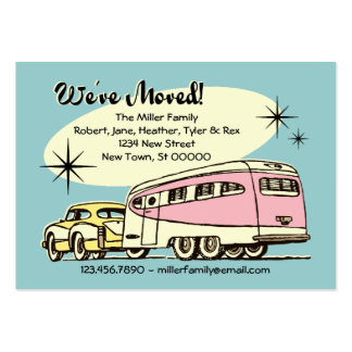Retro Trailer We've Moved Large Business Card