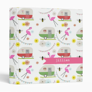 Retro Trailers & Flamingos Binder