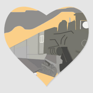 Retro Train Travel Heart Sticker