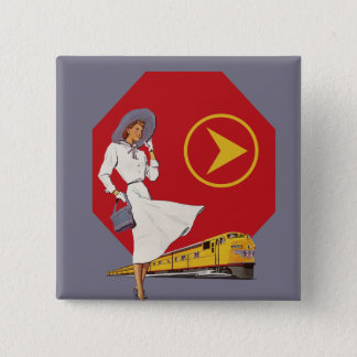 Retro Train Travel Pinback Button