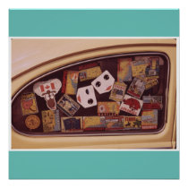 Retro travel decals vintage car photo