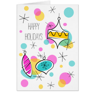 Retro Tree Baubles Happy Holidays text vertical Card