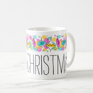 Retro Tree Baubles Line Christmas mug
