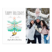 Retro Tree & Happy Holiday Photo Postcard