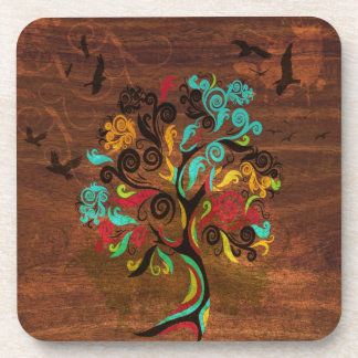 Retro Tree On Wood Coaster Set