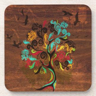 Retro Tree On Wood Coaster Set