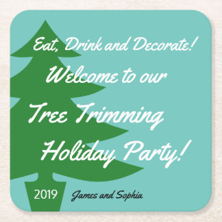 Retro Tree Trimming Holiday Party Coasters