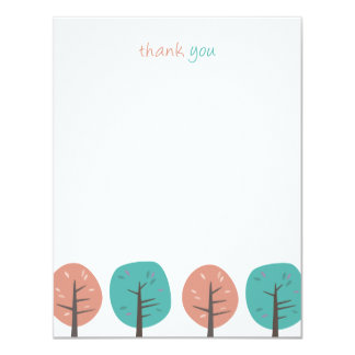 Retro Trees | Flat Thank You Note Cards