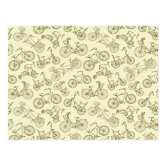 Retro Trendy Bicycle Pattern Postcard