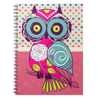 Retro Trendy Colorful Folk Art Owl Spiral Notebook