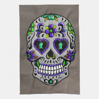 Retro Trendy Day of the Dead Sugar Skull Hand Towel