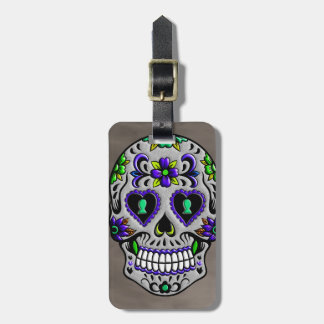 Retro Trendy Day of the Dead Sugar Skull Tag For Luggage
