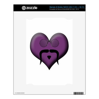 Retro Trendy Mustache Heart Skins For The NOOK