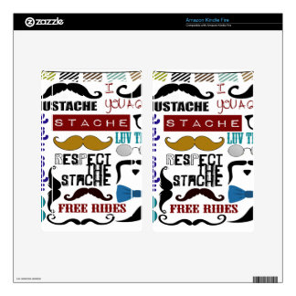 Retro Trendy Mustache Montage Kindle Fire Decals