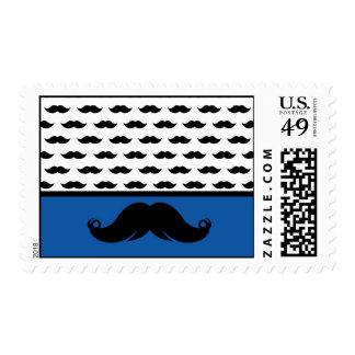 Retro  Trendy Mustache Stache Pattern Postage Stamp