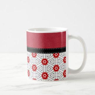 Retro Trendy Red Black & White Abstract Art Coffee Mug