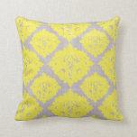 Retro Trendy Yellow & Gray Damask Pattern Pillow