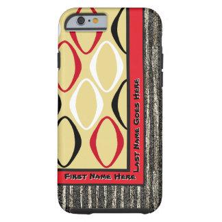Retro Tribal in Custard, Red, Black (Personalized) Tough iPhone 6 Case