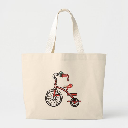 retro tricycle large tote bag