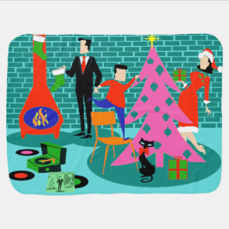 Retro Trimming the Christmas Tree Baby Blanket