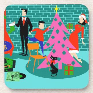 Retro Trimming the Christmas Tree Cork Coasters