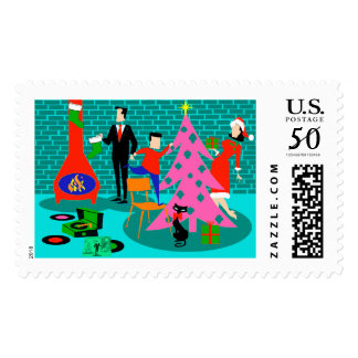 Retro Trimming the Christmas Tree Postage Stamps