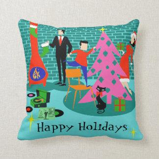 Retro Trimming the Christmas Tree Throw Pillow