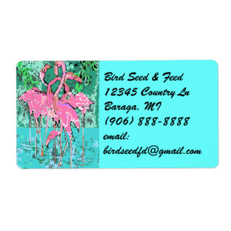Retro Tropical Abst Pink Flamingos Flamingo Labels