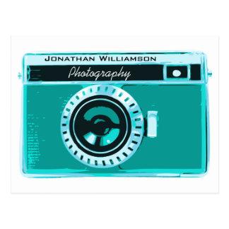 Retro Tropical Aqua Camera Photography Business Postcard