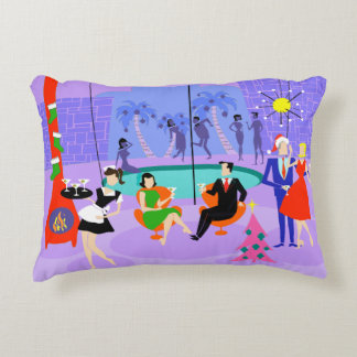 Retro Tropical Christmas Party Accent Pillow
