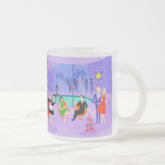 Retro Tropical Christmas Party Frosted Glass Mug