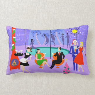 Retro Tropical Christmas Party Lumbar Pillow