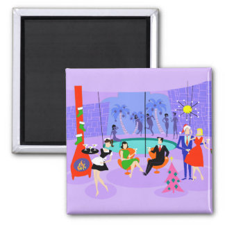 Retro Tropical Christmas Party Magnet