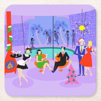 Retro Tropical Christmas Party Paper Coaster Square Paper Coaster