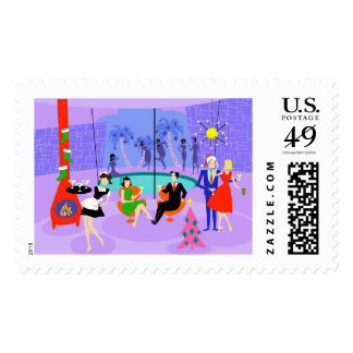 Retro Tropical Christmas Party Postage Stamps