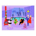 Retro Tropical Christmas Party Postcard