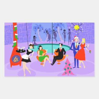 Retro Tropical Christmas Party Stickers