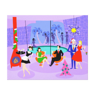 Retro Tropical Christmas Party Stretched Canvas